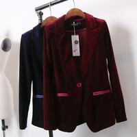 New Fashion Women's Gold velvet blazer Casual Coat Jacket Button Woman Suit Slim Female