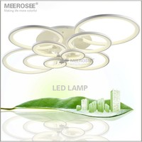White LED Ring Light Fixture LED Chandelier Lustre Light Large Flush Mounted LED Circles Lamp For