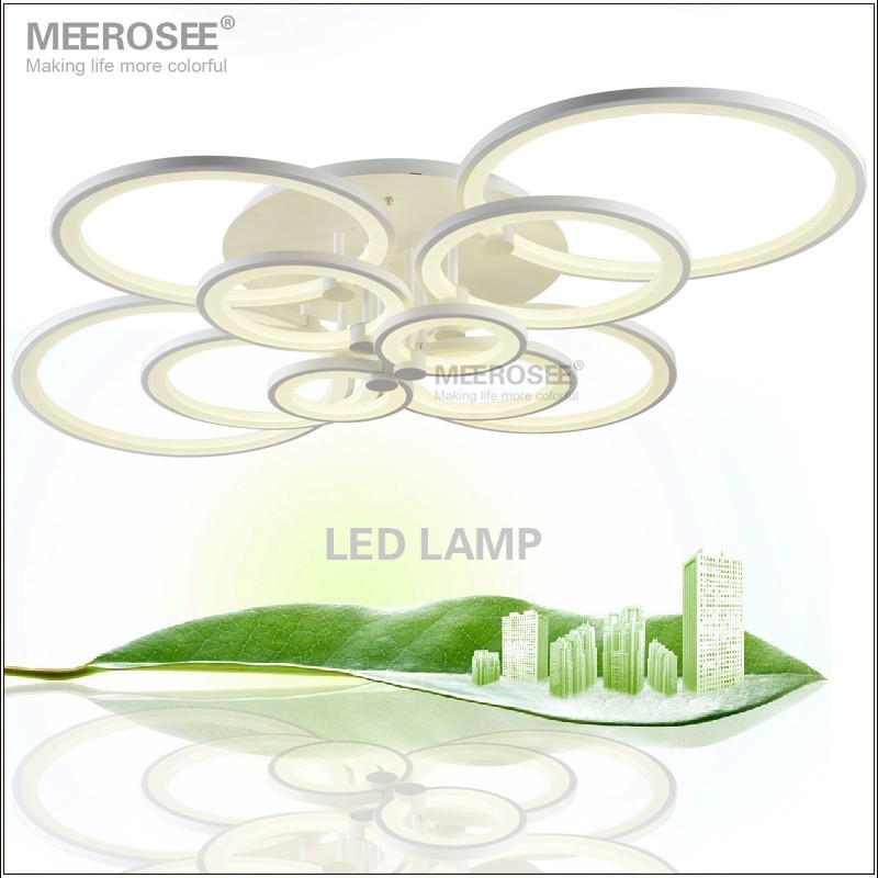 White LED <font><b>Chandelier</b></font> Lustre <font><b>Light</b></font> Large LED Ring Lamp Fixture Flush Mounted LED Circles Lamp for dining sitting bedroom