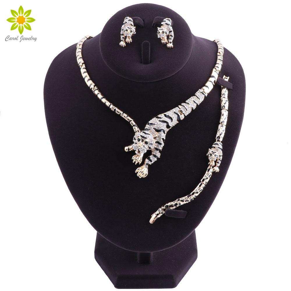 Leopard Pendant Jewelry Sets For Women Crystal Gold Color Necklace Earrings Bracelet Wedding Dress Accessories