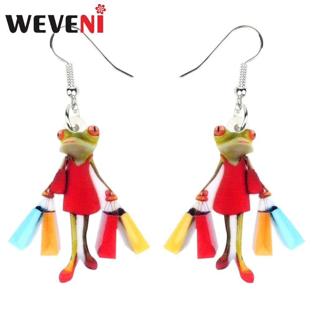 WEVENI Acrylic Shopping Lady Frog Earrings Drop Dangle Trendy Animal Jewelry For Women Girls Ladies Wholesale Dropship Gift