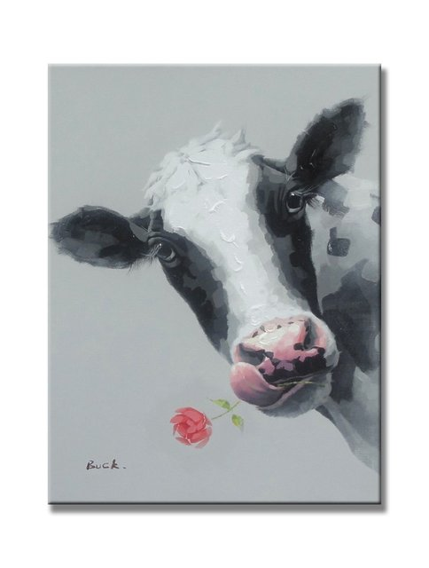 Sunflower Art The Cute Cow Animal Paintings 100% Handpainted Canvas Oil  Paintings Wood Stretched Home