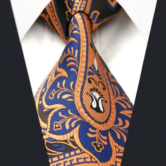 66aa80abd8877 A34 Black Blue Bronze Paisley Mens Necktie Wedding Fashion Classic Silk Ties  for male Dress extra
