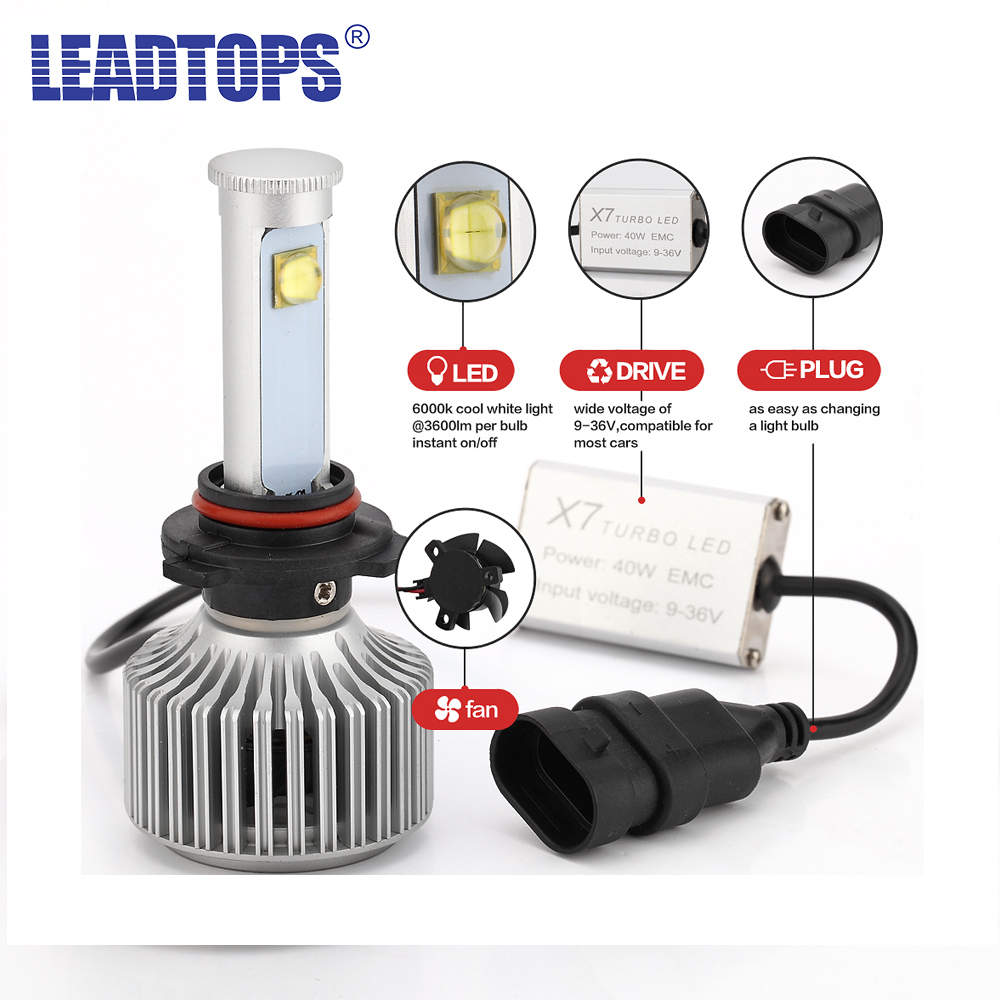 LEADTOPS Automobile H4 LED H7 H11 9005 9006 LED Car Headlight Bulb 8000LM CREE Chips CSP LED Headlamp All in Auto Front Light BJ серьги
