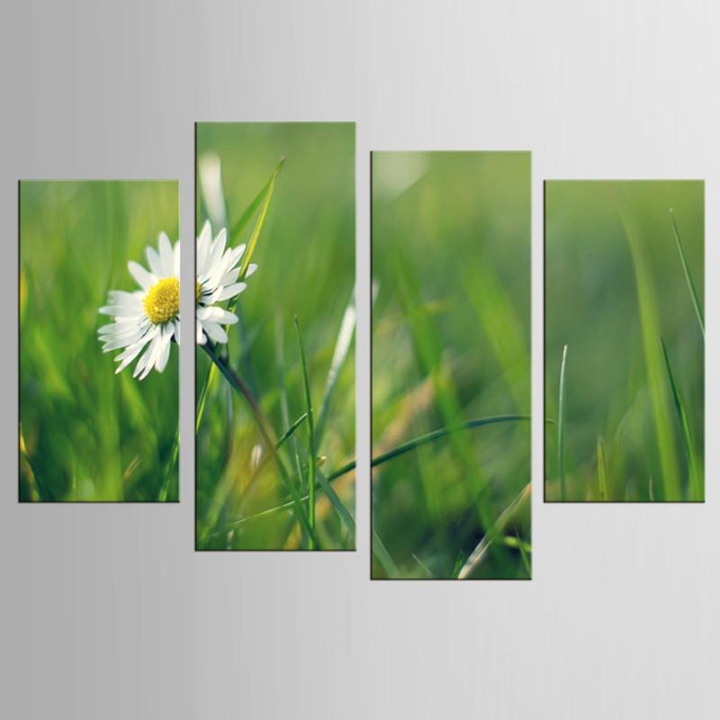 4 panel bílý květ rostlin umění nástěnné malby na plátně tisk domácí dekorace malba nástěnná malba obrázek