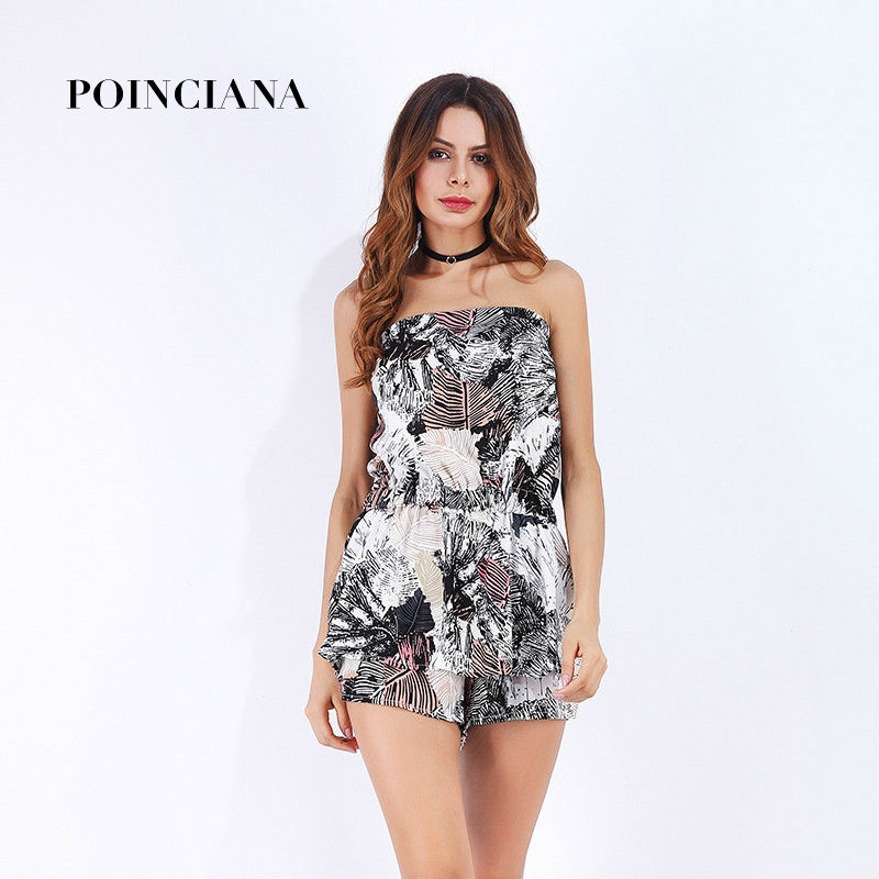 Sexy Rompers For Women Summer Outfits For Girls Combishort Barboteuse Casual Femme Shorts Jumpsuit Printed Strapless Slash Neck