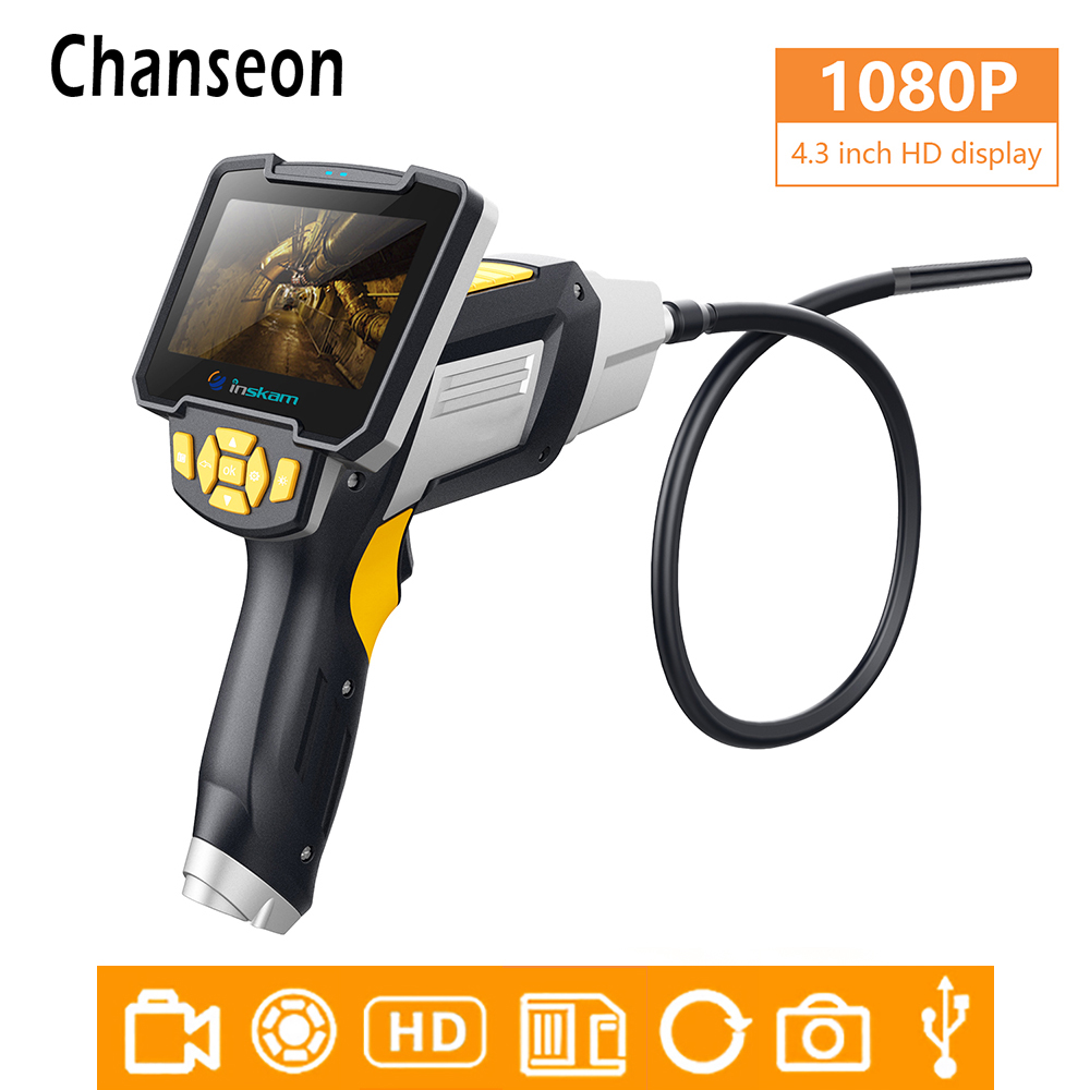 1080P HD Industrial Endoscope Camera 4 3 inch Digital LCD Screen In Surveillance Cameras Professional Car