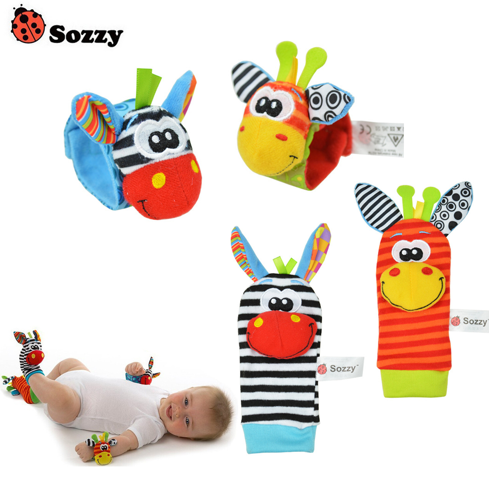 100pcs/lot Sozzy Baby Rattle Toys Garden Bug Wrist Rattle And Foot Socks 4 Style (50 Waist+50 Socks) (25 Set)