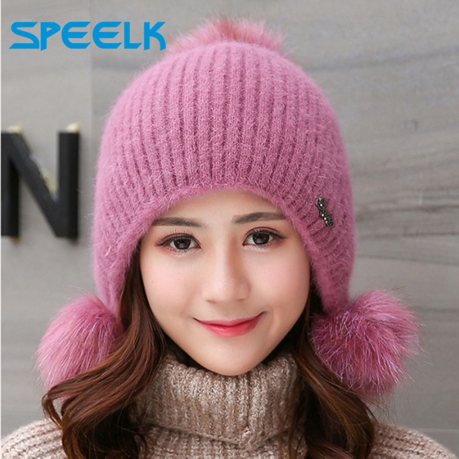 Rabbit Plush Hats Women Winter Fashion Beanies Sweet Cute Hedging Cap Velvet Wool Hat Student Hair Ball Caps Warm Knit Hat