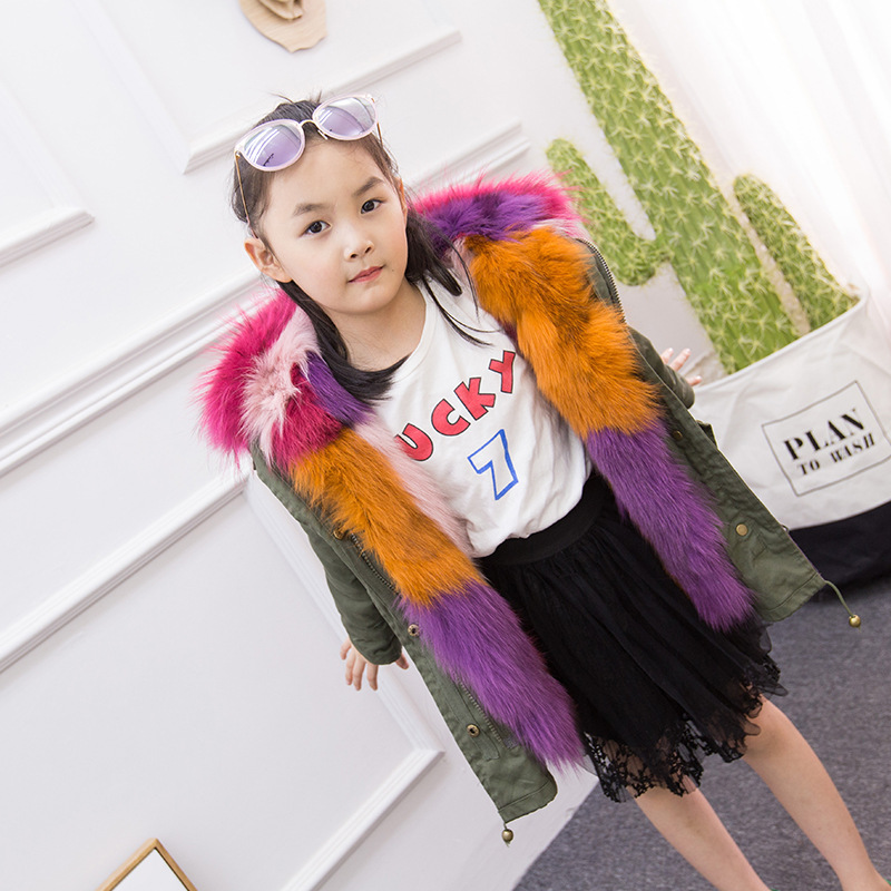 Girls Winter Overcoat Children Luxry Real Rabbit Fur Coat Girls Rainbow Rabbit Fur Hooded Jacket Boys Winter Warm Parkas D0361 2017 new winter jacket women long coat real large raccoon fur collar hooded and real rex rabbit fur thick warm liner