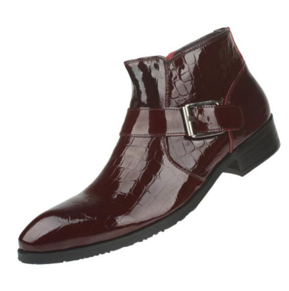 1373db27fee KWOK Embossed Black Wine Red Male Genuine Leather Ankle Boots Buckles Man  Martin Boots Patent Leather Motorcycle Booties