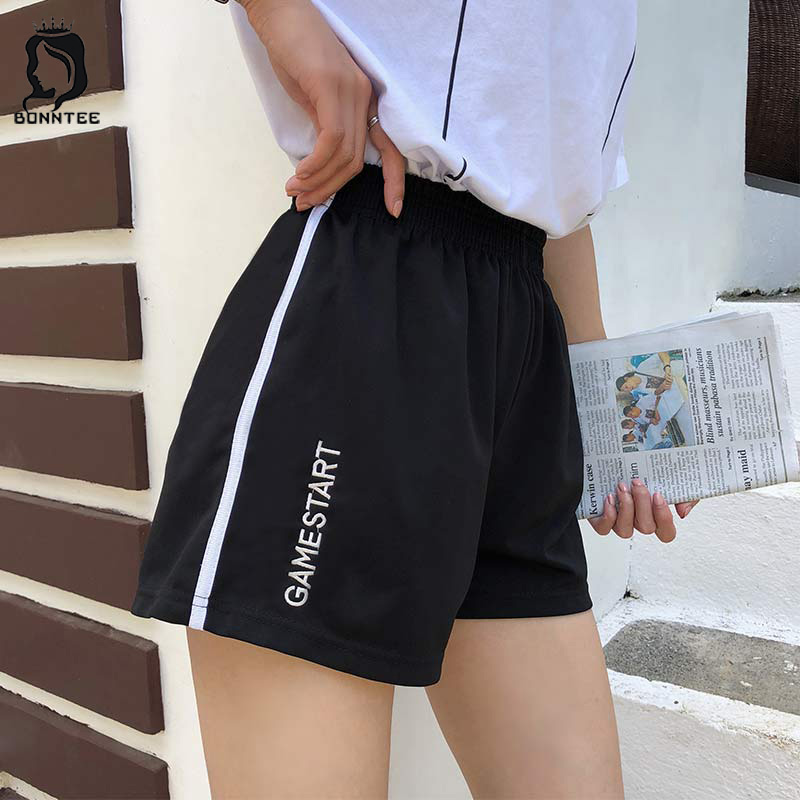 Shorts Sweet School Students Elastic Waist Letter Embroidery Loose Striped Women Short Korean Style Womens Summer Newest Fashion