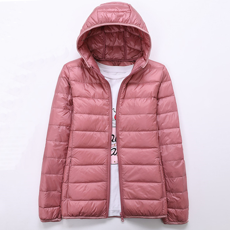 2019 Spring Autumn Womens Jackets Ultra Thin Super Light Fashion Ladies Down Coats Red Pink Black Female Hooded Jacket Coats 4XL