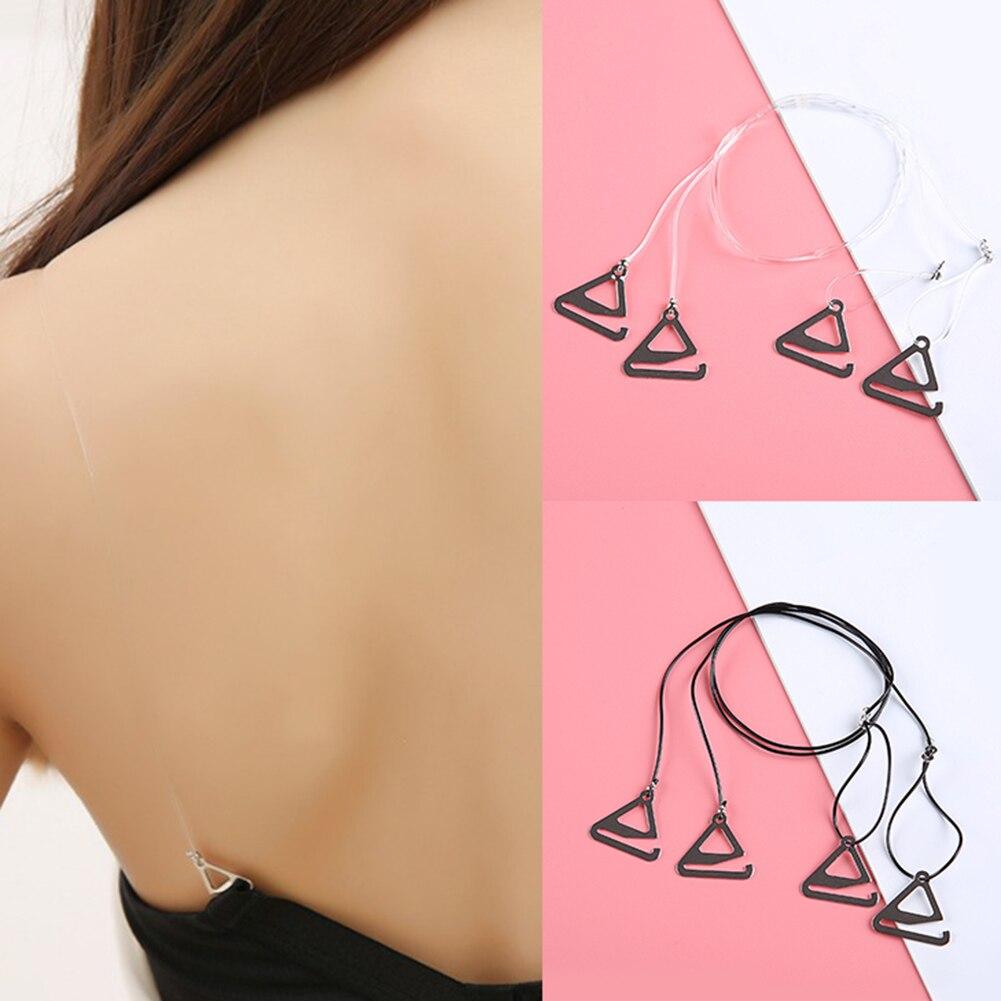 1 Pair Women Adjustable Bra Strap Party Evening Dress Underwear Invisible Straps Thin Black Clear Summer Bra Vest Accessories