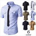 6 Colores Disponibles de Los Hombres Camisa de Manga Corta Camisa de Verano Hombres Chemise Homme Camisas de Trabajo de Manga Corta Blanca A2187