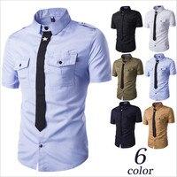 6 Cores Disponíveis Homens Camisa Camisa Branca de Manga Curta de Verão Homens Camisas de Trabalho de Manga Curta Chemise Homme A2187