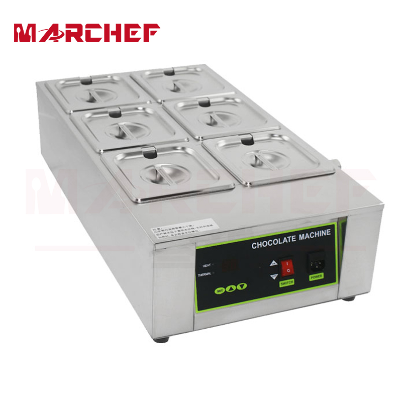 6 Pots Chocolate Melting Machine Electric Water Heating Chocolate Melter on Sale 1pcs 1000w 8kg capacity electric chocolate melter chocolate tempering machine