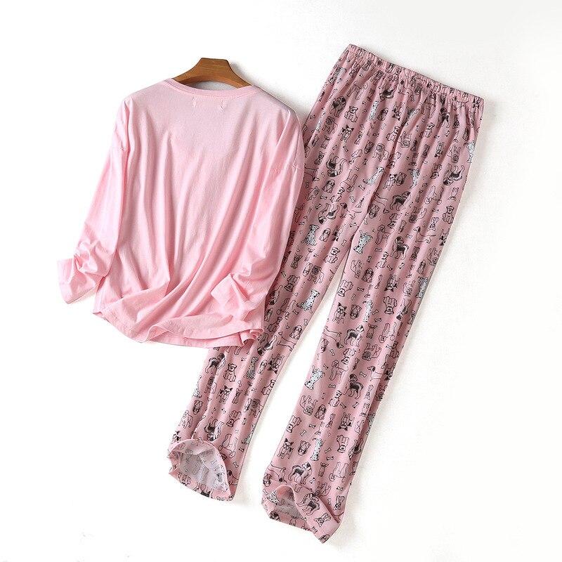 Spring New100% Cotton Sleepwear Long Sleeve Pijama Mujer Round Neck Plus Size Pajamas Cartoon Pijama Women's Three-piece Suit 37
