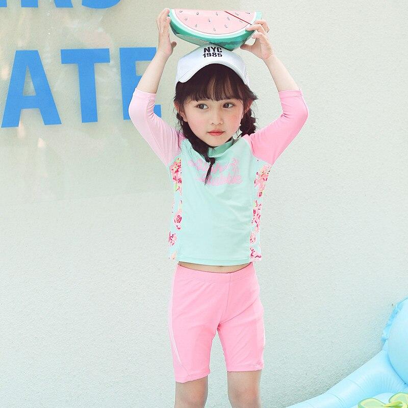 Children's Clothes Swimsuit For Baby 2019 Child Swimwear Girl Kids Children Bathing Suits New Print Cute Long Sleeve Split