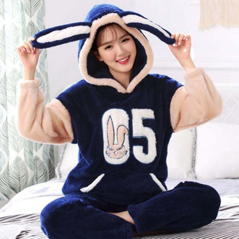 4XL 5XL flannel Pajamas sleep wear pyjama femme feminino night wear pajama big size white blue cartoon coral fleece lounge set