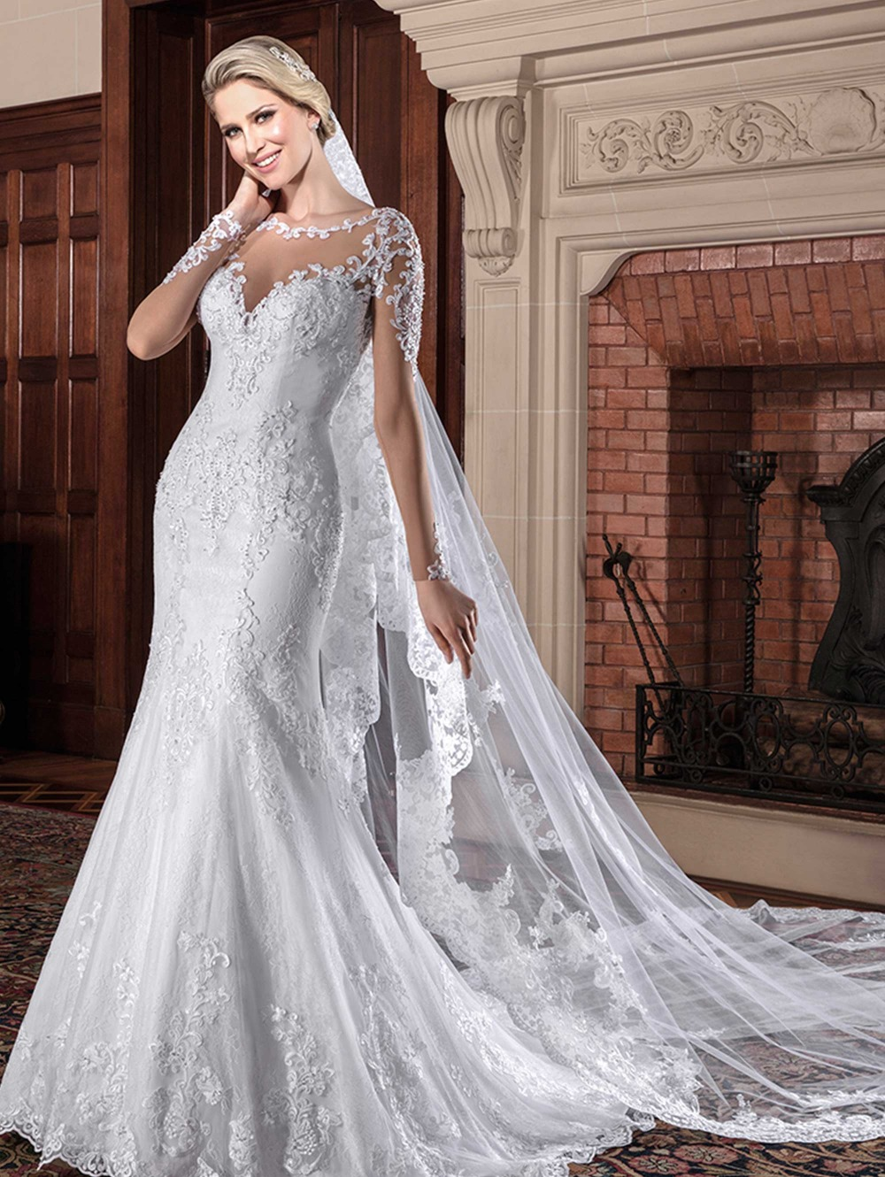 Robe de mariage applique long mermaid wedding dress 2016 cap sleeve scoop neck lace bridal dresses