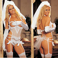 Sexy Open Bust White Bride Maid Costume Erotic Wedding Dress Halloween Cosplay Lingerie Set Women Sex Game Uniform Nightwear