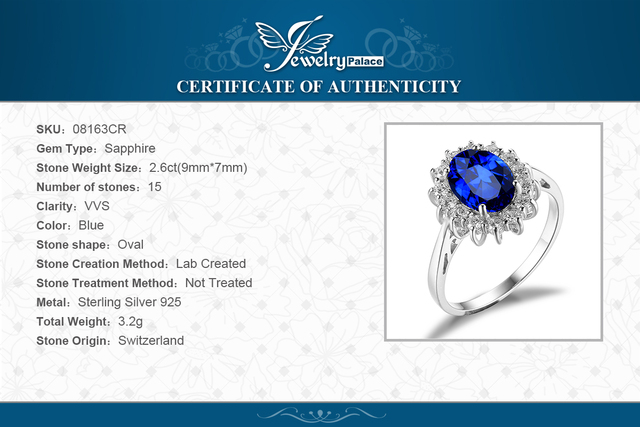 Women 925 Sterling Silver 3.2CT Blue Sapphire Engagement Ring Princess Diana William Kate Middleton