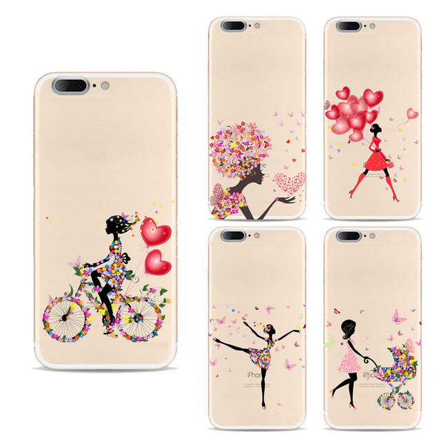 TPU Cases For Apple Iphone 7 Plus Case Silicon Cartoon Cute Bike Girl Design Soft Painted Cases For Iphone 7 PLUS Back Cover