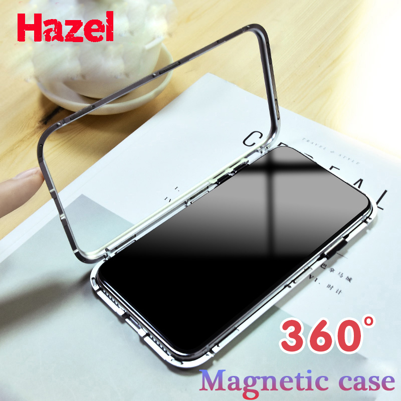 HAZEL Magnetic Adsorption metal case for iphone X iphone 7 8 case luxury tempered glass cover for iphone 8 plus 7 plus coque