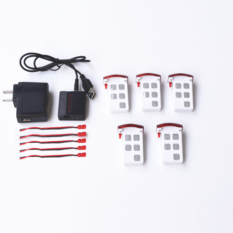 SYMA X5UW X5UC 3.7V 500Mah High Quality Li-Po Battery 5pcs+charger in Set  Rc Quadcopter Drone Spare parts 3pcs 3 7v 900mah li po battery 3 in 1 black us regulation charger and charging cable for rc xs809 xs809hc xs809hw drone