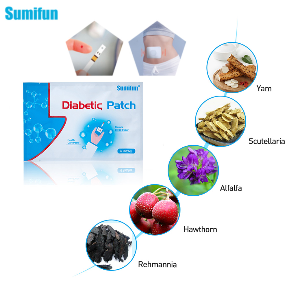 Sumifun 72pcs/12Bags Diabetes Patch Reduce High Blood Sugar Diabetes Patch Medications Natural Herbs Diabetic Plaster D1277 packaging and labeling