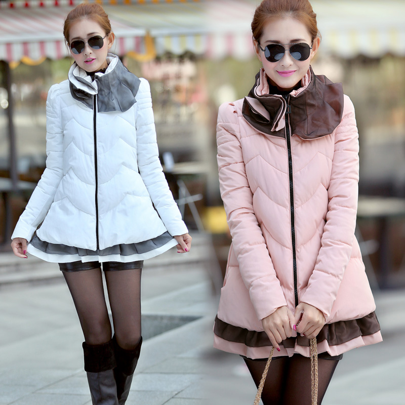 ФОТО 2013autumn winter fashion ruffles design cute knitted patchwork women overcoat down cotton padded coat M-XXL free shipping D2043