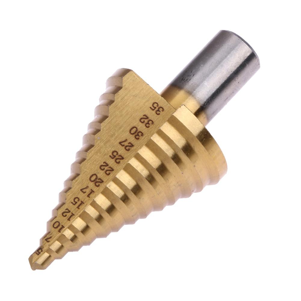 1 pz Mini Drill Power Tools Hex Titanium Step Drill Bit foro Cutte per la Lavorazione Del Legno 5-35mm HSS Power Tool Metallo Legno perforazione