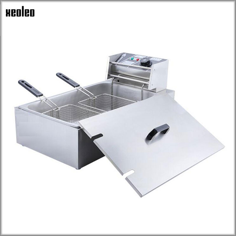 XEOLEO Commercial Fryer 12L Single tank Double baskets Stainless steel Electric Fryer Fried Chicken French fries machine 3000WXEOLEO Commercial Fryer 12L Single tank Double baskets Stainless steel Electric Fryer Fried Chicken French fries machine 3000W