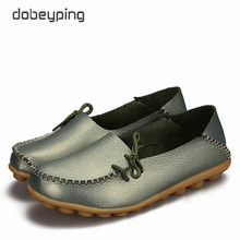 New Women Real Leather Shoes Moccasins Mother Loafers Soft Leisure Flats Female