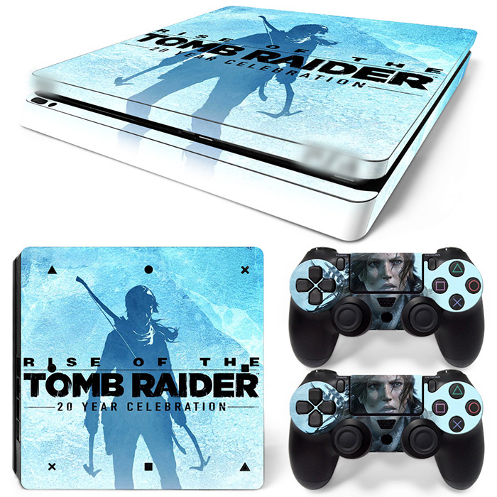 Free Drop Shipping Vinil Decal odos lipdukai PS4 Slim Skin lipdukui PlayStation 4 Slim Console & 2 Controll -TOMB RAIDER
