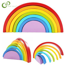 New Colorful Wood Rainbow Building Blocks Toys Creative Assembling Wooden Blocks Circle Set Educational Toys for Children WYQ(China)