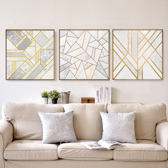 Minimalistischen Nordic Gold Rot Multicolor Muster Abstrakte Poster ...