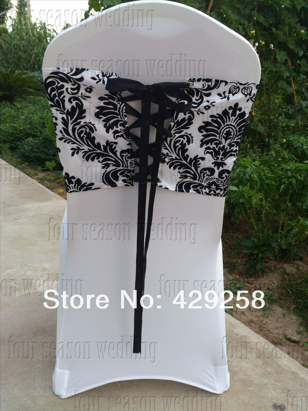 Chair Cover Elegance Lounge Towels Fitted Free Shipping 20pcs White And Black Flocking Taffeta Sash Also Call Damask Corset