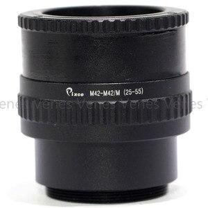 Image 2 - 2 pçs/set 25 55mm/12 19mm/M42 15 + 26.5 milímetros Adaptador de Lente /C Montar Lens M4/3 para M42 Lente Ajustável Focando Helicóide Macro Adaptador