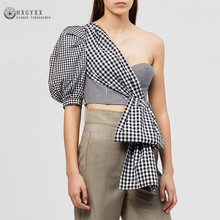 2019 New Summer Slim Short plaid Blouse Women Fashion asymmetric shoulder bubble Short sleeve tube Top Female Sexy Tops W008(China)