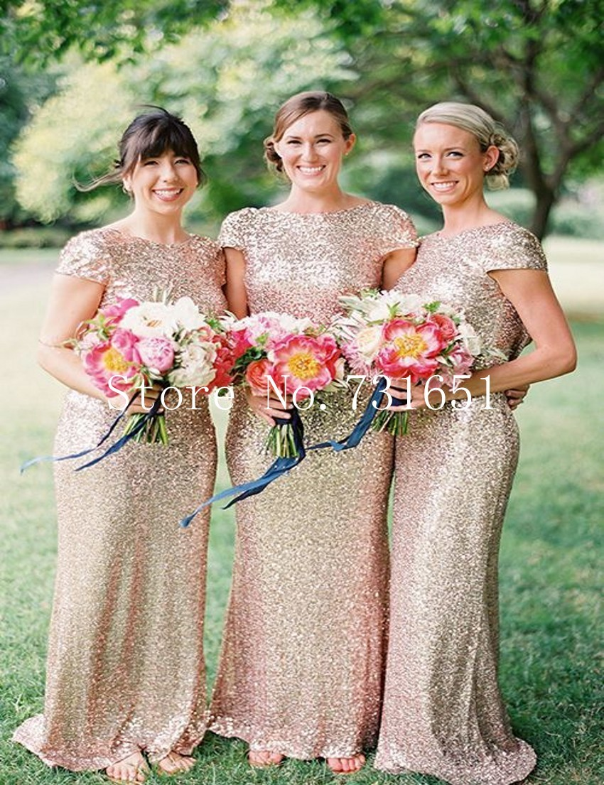 2016 Champagne Rose Gold Sequins Bridesmaid Dresses With Short Sleeve Scoop  Neck Low Cowl Back Champagne Gold Bridesmaid Dresses 738afd21778a