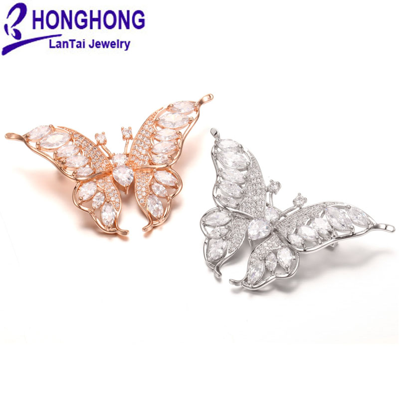 High-quality Cubic zirconia butterfly Brooches pins for women wedding broches mujer Lovely Animal Brooch for women jewelry цена 2017