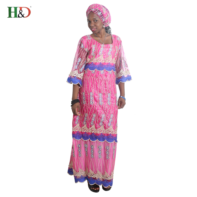 H & D africa stil kläder riche bazin afrikanska kvinnor spets outfit - Nationella kläder - Foto 3