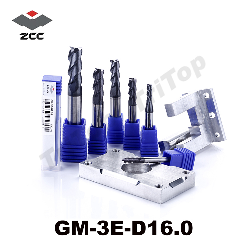 cnc tools GM-3E-D16.0 high speed milling cutter side milling and slot milling 16mm 3 flute fresas para madera end mill zcc ct 3 175 12 0 5 40l one flute spiral taper cutter cnc engraving tools one flute spiral bit taper bits