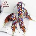 2106 New patchwork women bag strap couple handbags straps woven national stylish design rainbow color bag belts