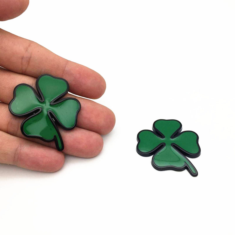 2pcs set Four Leaf Clover Chrom Metal Badge Emblem Sticker Love Healty Lucky Symbol For Alfa Romeo Car Styling Accessories in Car Stickers from Automobiles Motorcycles