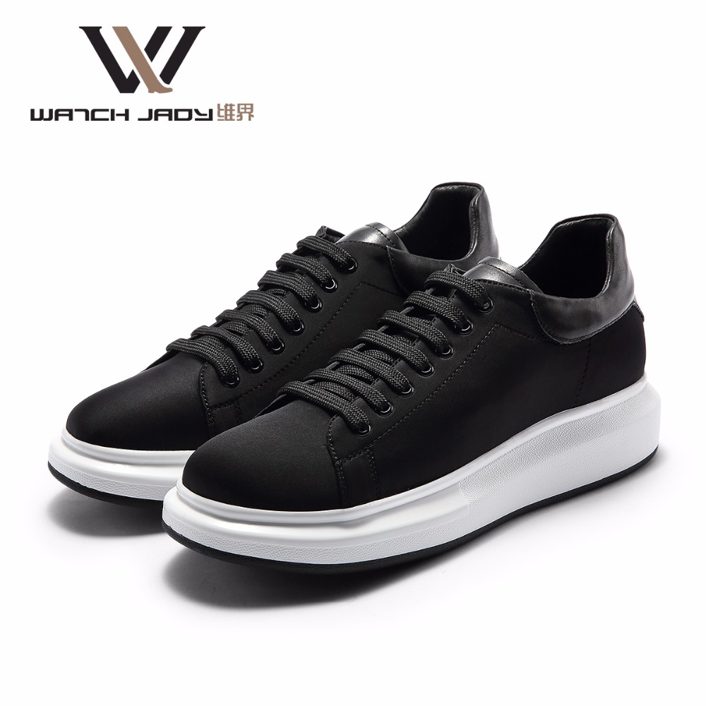 W.J Genuine Leather Shoes Spring Summer Autumn Thick Sole Elevator Casual Breathable Lace Up Black Men Casual Shoes fashion womens casual shoes 2017 spring summer breathable women canvas shoes brand soft thick sole classic black white th085