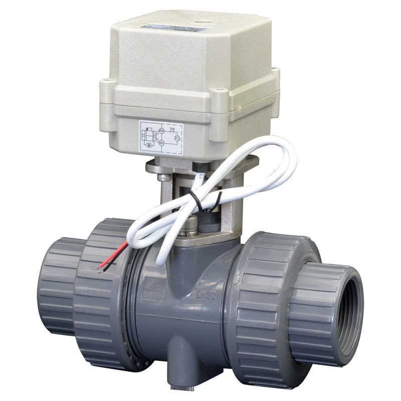 2 Way PVC DN32 4/7Wires Motorized Ball Valve BSP/NPT  11/4'' AC110-230V  10NM Electric Ball Valve On/Off 15 Sec Metal Gear CE dn20 electric pvc valve tf20 p2 c ac110v 230v 4 wires bsp npt 3 4 pvc motorized valve 10nm on off 15 sec metal gear ce ip67
