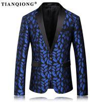TIAN QIONG Blazer Men 2017 Royal Blue Mens Blazer Slim Fit Mens Stage Wear Fashion Printed